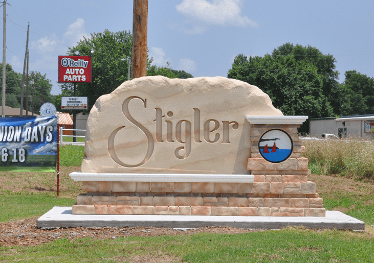 Stigler City Entrance Sign Monument Daylight View.