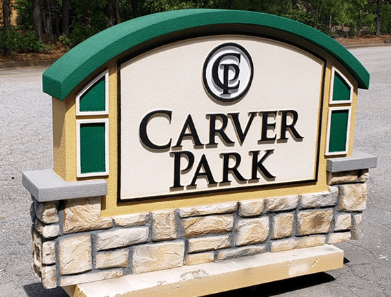 Stone Monument Signs - Carver Park - Finished Sign