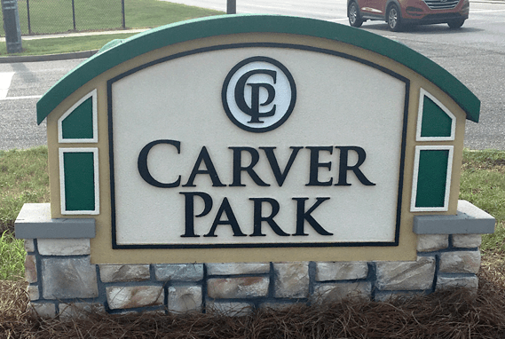 Stone Monument Signs - Carver Park - Installed Sign