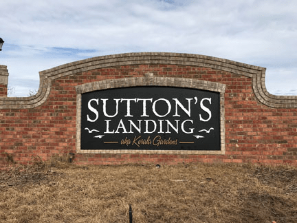 Recycle Existing Community Entrance Signs: Sutton's Landing Complete