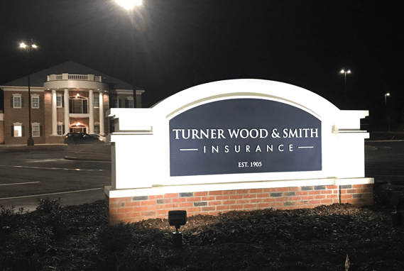 TWS Sign Monument Ground Lighting Night View