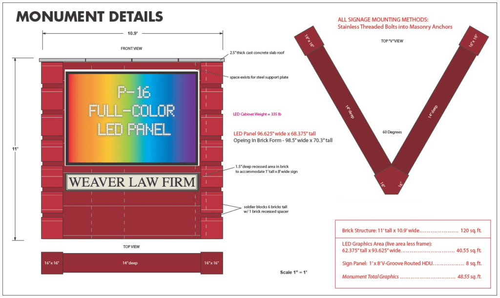 monument sign projects - Weaver Law Firm Full-Color LED Monument SIgn Project