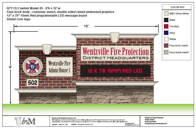 Wentzville Fire Custom Monument Signs with LED