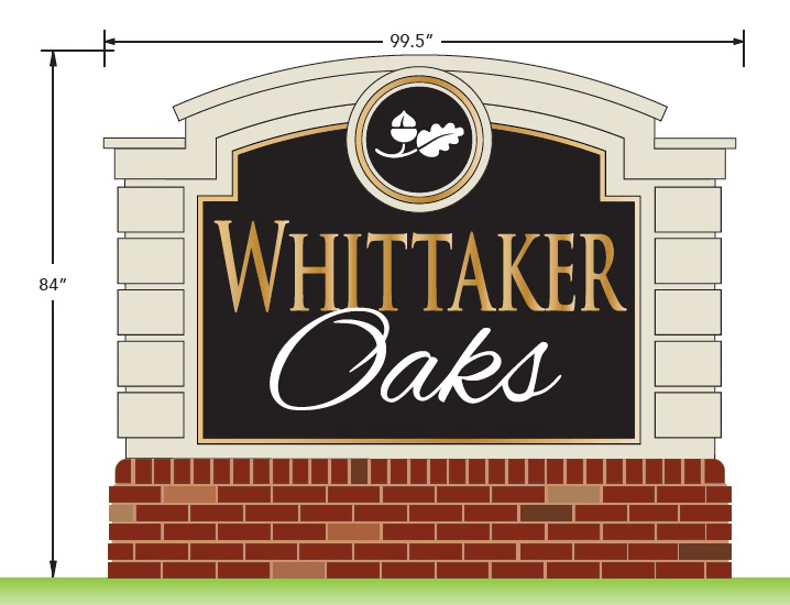 Neighborhood Entrance Sign Monument Design - Whittaker Oaks
