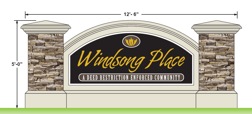 Neighborhood Entrance Sign Monument Design - Windsong Place