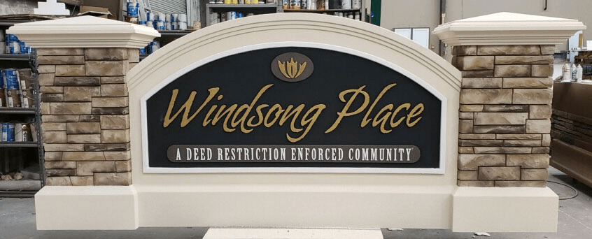 Neighborhood Entrance Sign Monument - Windsong Place