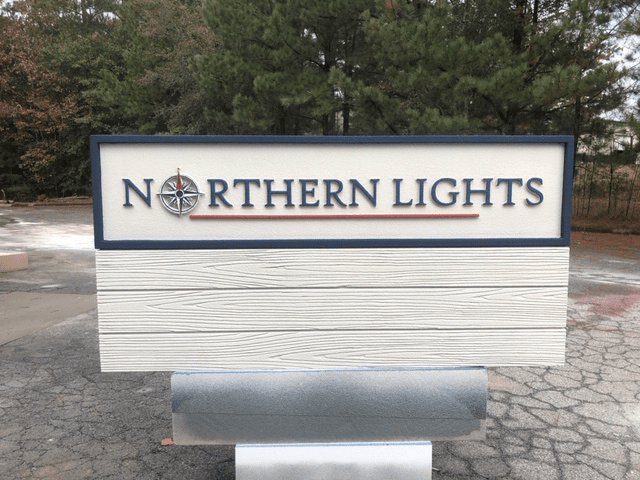 Wood Plank Sign Monument - Northern Lights