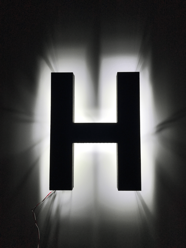 halo-lit LED letters white glow