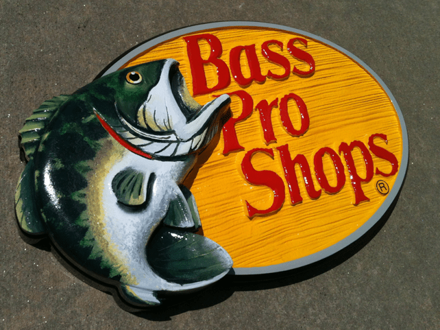 Hand Carved Bass Pro Sign Painted