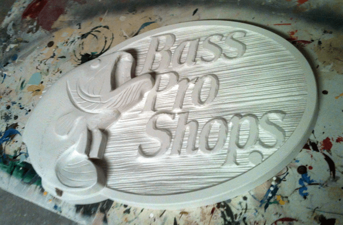 Hand Carved Bass Pro Sign in Foam