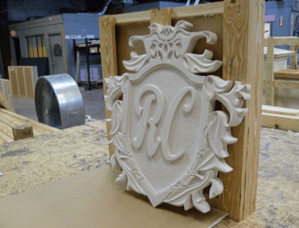 Hand Carved Shield Sign in Foam