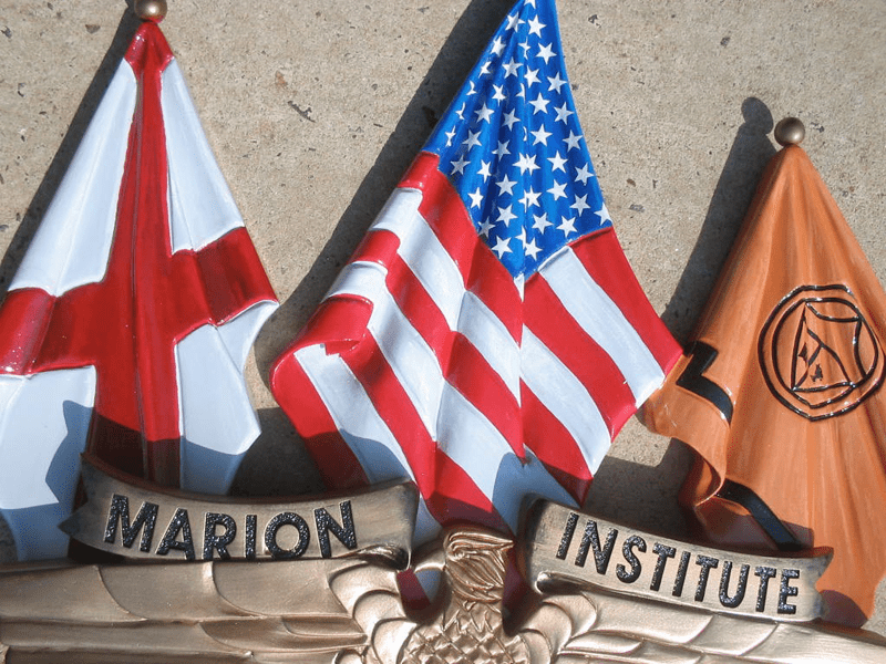 Hand Carved Flag & Shield Sign Matched