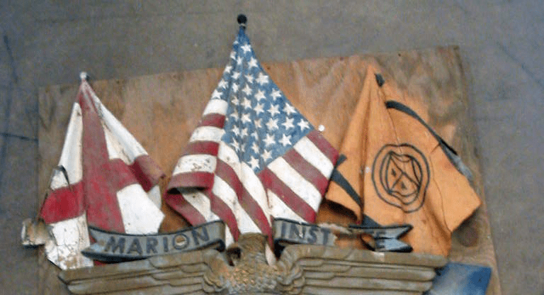 Hand Carved Flag & Shield Sign To Match