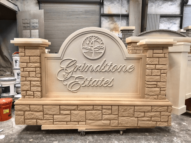 monument sign projects - monument entrance sign stone production Grindstone Estates