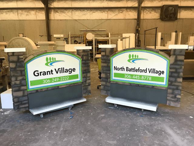 monument sign projects Grant Village North Battleford Village