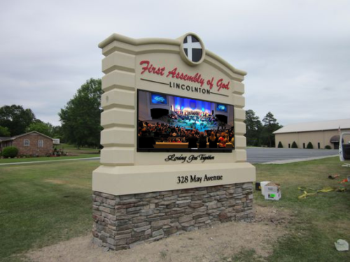 First Assembly Full-Color LED Sign Monument Installed