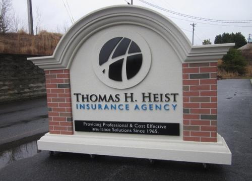 Insurance Agency Business Sign Monument Faux Brick Masonry Columns