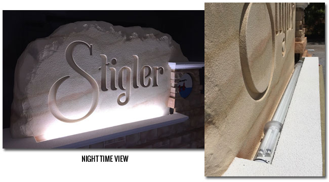 Outdoor Lighted Sign City Entrance - Upward Lighting
