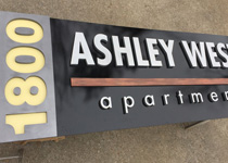 Apartment Complex Dimensional Sign Panel in Brushed Aluminum and Faux Wood