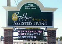 Assisted Living Community Entrance Sign Monument with Full-Color LED Panels