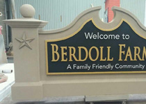 Berdoll Farms Community Entrance Sign Monument with 3-D Stars and Graphics