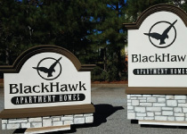 Blackhawk Apartment Complex Sign Monuments with Faux Block Stone Bases