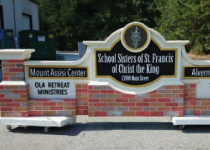 Church Sign Monument with Faux Mixed-Brick Base and Columns, Embossed Graphics
