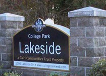 College Park Lakeside Sign Monument