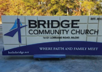 Community Church Sign Monument with 3-D Embossed Graphics