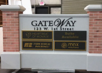 Business Park Engtrance Sign Monument with Changeable Tenant Space Panels