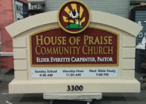 Church Sign Monument with Changeable Aluminum Worship Hour Plaques