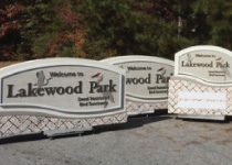 Lakewood Park Community Entrance Sign Package with Faux Coral Bases