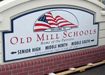 Old Mill Schools Sign Monument