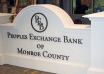 Peoples Exchange Bank Sign Monument
