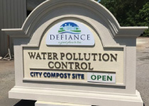 City Water Pollution Control Sign Monument with Open-Closed Plaque
