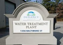 City of Defiance Water Treatment Sign Monument with Digital on Aluminum City Logo