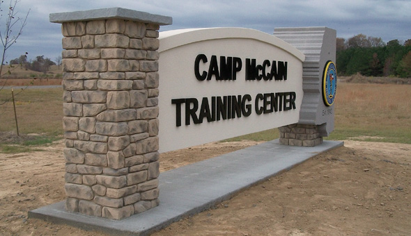 Camp McCain Training Center Entrance Sign Monument
