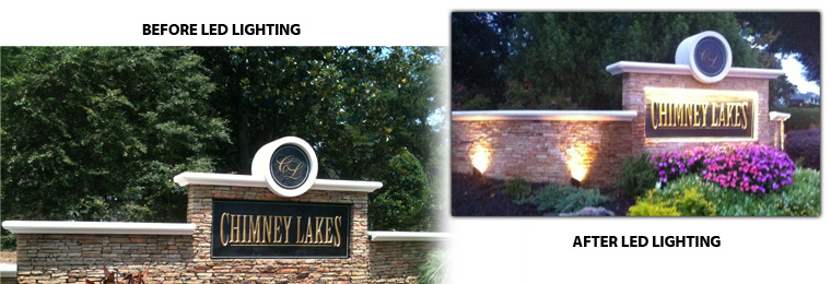 Sign Monument after Integrated LED  Lighting Kit