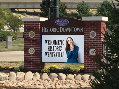 Historic Downtown City of Wentzville Sign Monument with LED Message Board Installed