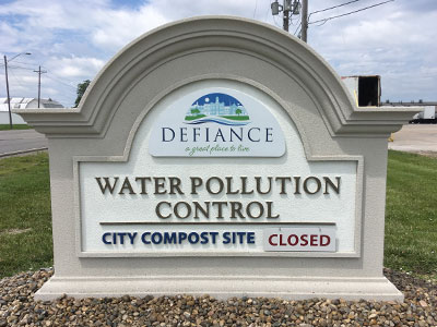 City of Defiance, Ohio Water Pollution Control Sign Monument