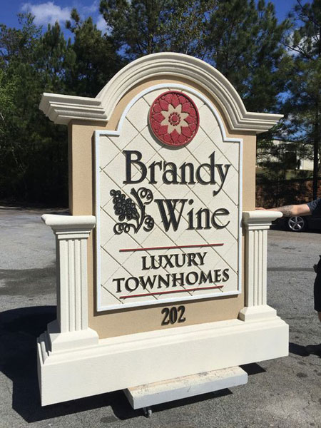 Brandywine Luxury Townhomes Custom Subdivision Entrance Sign Monument