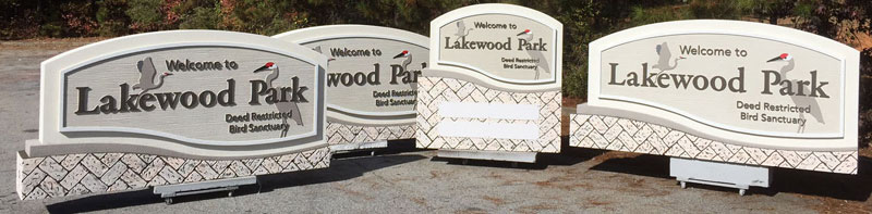 Custom Subdivision Entrance Sign Monument Package for Lakewood Park Deed Restricted Bird Sanctuary