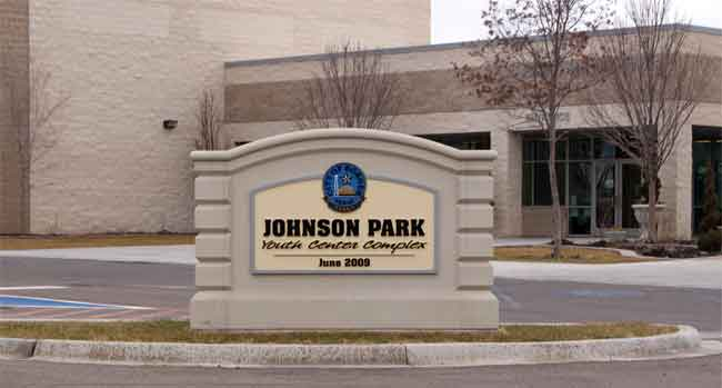 Johnson Park Youth Center Sign Monument