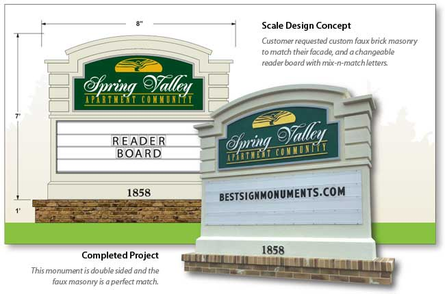 Spring Valley Sign Monument With Changeable ReaderBoard