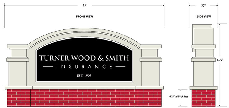 TWS Insurance Agency Sign Monument Design