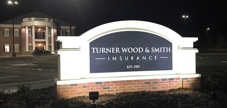 TWS Insurance Agency Sign Monument Installed Night Time View