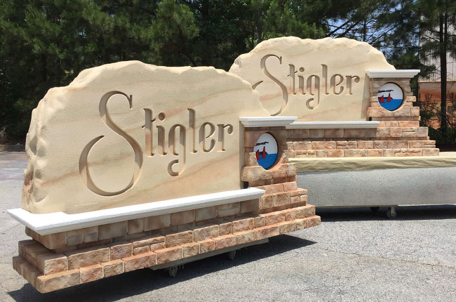 City of Stigler Entrance Sign Monument Before Shipping